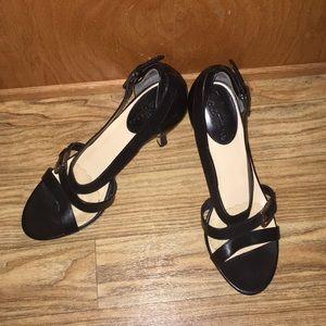 Cole Haan NikeAir black leather sandal stilettos